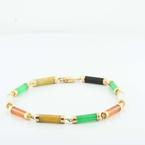 Beautiful Ladies 14K Yellow Gold Multi Colored Jade Onyx Bracelet Jewelry