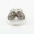 Dazzling Vintage Ladies 14K White Gold Marquise Baguette Diamond Engagement Ring