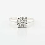 Dazzling Ladies 14K White Gold Round Diamond Solitaire Engagement Ring