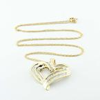 Dazzling Vintage Ladies 10K Yellow Gold Baguette Diamond Heart Pendant Necklace