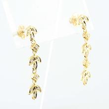 Stunning REL Jewelers 18K Yellow Gold Round Diamond Dangling Flower Earring Pair