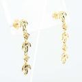 Stunning REL Jewelers 18K Yellow Gold Round Diamond Dangling Flower Earring Pair