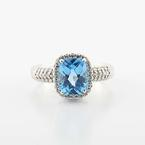White Gold Blue Stone Diamond Ring