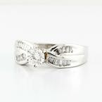 Dazzling Ladies Vintage 14K White Gold Round Baguette Diamond Engagement Ring