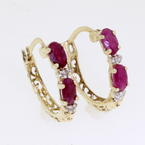 Attractive 10K Solid Yellow Gold Hoop Spinel Earrings Jewelry