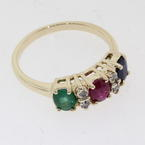 Luxurious 14k Yellow Gold 3 Stone Gemstone and Diamond Ring