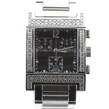 Authentic Men's Gucci 7700 Chrograph Stainless Steel Diamond Bezel Watch