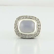 Authentic David Yurman Silver 925 Albion Diamond Chalcedony Gemstone Ring