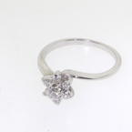 NEW Modern Ladies 14K White Gold Diamond Rosita Cluster Promise Right Hand Ring