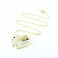 Dazzling Vintage Ladies 10K Yellow Gold Baguette Diamond Heart Shaped Pendant