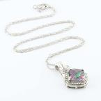Dazzling Ladies Sterling Silver 925 Mystic Fire Topaz Pendant Necklace