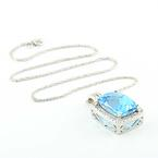 Dazzling Ladies 14K White Gold Blue Topaz  Diamond Pendant Necklace Jewelry
