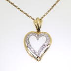 Beautiful Vintage Yellow Gold 14K Heart Diamond Pandant Ladies Necklace