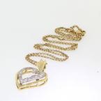 Beautiful Vintage Yellow Gold 14K Heart Diamond Pandant Ladies Necklace