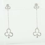 Impressive 14K White Gold Lucky Clubs Dangle Diamond Estate Earrings