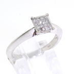 Modern Ladies 14K White Gold Princess Cut Diamond Engagement Ring Jewelry