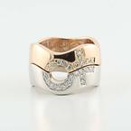 Beautiful 18K White Rose Gold Diamond Pride Partnership Wedding Band Rings