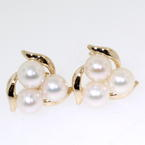 Beautiful Yellow Gold 14K Ladies Vintage Pearl Earrings
