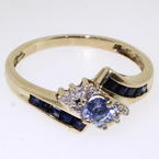 Divine Ladies 10k Yellow Gold Blue Cubic Zirconia and Diamond Ring Jewelry
