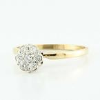 Dazzling Ladies 14K Yellow Gold Round Diamond Flower Cluster Engagement Ring