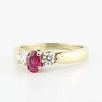 Dazzling Ladies 14K Yellow Gold Ruby Diamond Right Hand Three Stone Ring