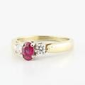 Dazzling Ladies 14K Yellow Gold Ruby Diamond Right Hand Three Stone Ring