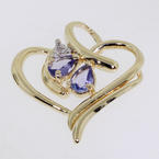 Amazing Yellow gold 10k Amethyst & Diamond Heart Ladies Pendant