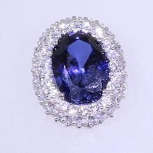 Beautiful White Gold 14K Sapphire & Cubic Zirconias Ladies Charm