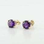 Gorgeous Estate 14K Yellow Gold Synthetic Amethyst Stud Earrings