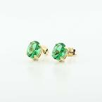 Beautiful 14K Yellow Gold Oval Synthetic Emerald Stud Earrings
