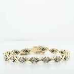 Lovely Vintage 14K Yellow Gold X's O's Diamond Tennis Bracelet