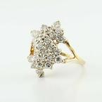 Dazzling 14K Yellow Gold Estate 2CT Diamond Cluster Ring