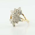 Dazzling 14K Yellow Gold Estate 2CT Diamond Cluster Ring