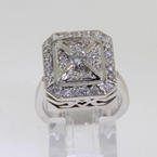 Lustrous Ladies 14K White Gold Deco Diamond Ring Jewelry