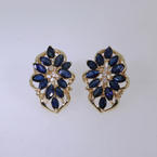 Divine Ladies 14K Yellow Gold Blue Spinel and Diamond Earrings Jewelry