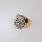 Luxurious Ladies 10K Yellow Gold Diamond Cluster Ring Jewelry