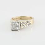 Grand Estate 14K Yellow Gold Princess Diond Engagment  Ring 1 CT For Less
