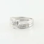 Charming 10K White Gold Princess Diamond Engagement Wedding Ring
