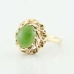 Divine Vintage Estate 14K Yellow Gold Cabochon  Jade Ring