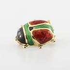 Lucky 18K Yellow Gold Enamel Lady Bug Pin Broach