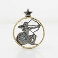 Divine Custom 18K Yellow Gold Sterling Silver Blue Diamond Sagatrious Pendant