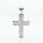 Powerful White Gold 18k Invisible Diamond Set 1.90 CT Cross