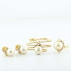 Elegant 14K Yellow Gold Diamond Cluster & Pearl Jewelry Ring Earring Set