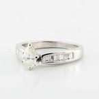 Spectacular Platinium Pear Shape Solitaire Baguette Diamond Engagement Wedding Ring