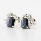 Elegant 14K White Gold Blue Spinel Round Baguette Diamond Stud earrings