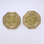 Lustrous 10K Yellow Gold Yellow Diamond Octagon Shape Earrings Studs Jewelry
