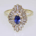 Charming Ladies 14K Yellow Gold Blue Topaz and Diamond Ring Jewelry