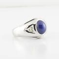 Handsome 14K White Gold Blue Sapphire Cabachon Diamond BAUMF Ring