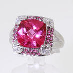 Delightful Ladies 14K White Gold Pink Ruby and Cubic Zirconia Cocktail Ring Jewelry