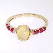 NEW Fine Womens 10K Yellow Gold Opal Spinel Cocktail Right Hand Ring